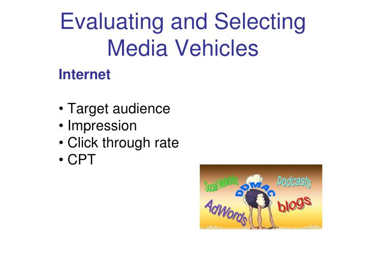 Evaluating and Selecting Media Vehicles
