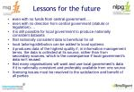 lessons for the future