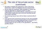 the role of the private sector continued