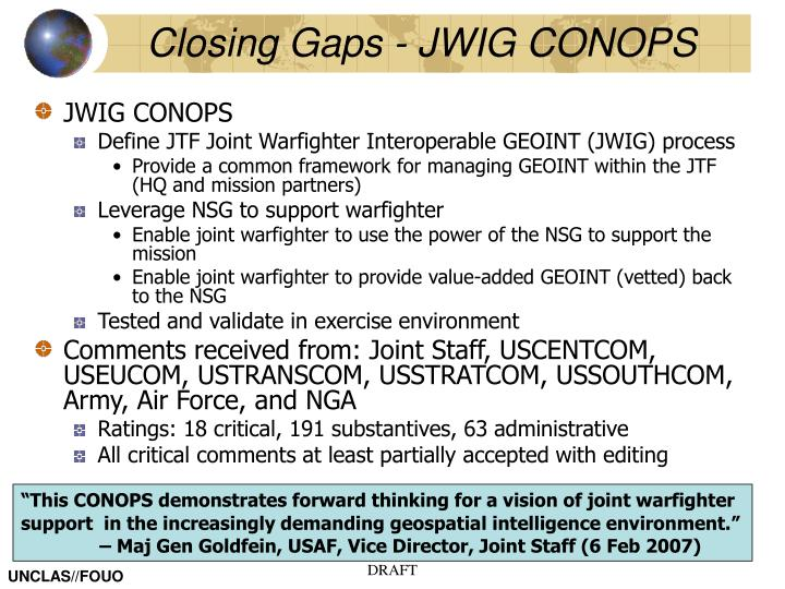 Closing gaps jwig conops