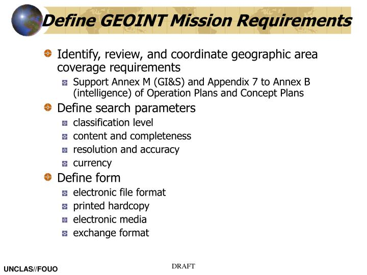 Define GEOINT Mission Requirements