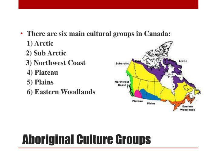 There are six main cultural groups in Canada: