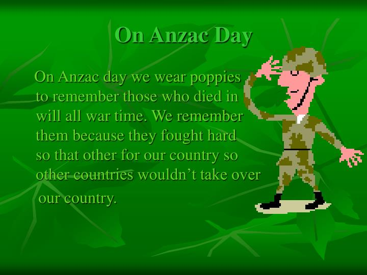 On anzac day