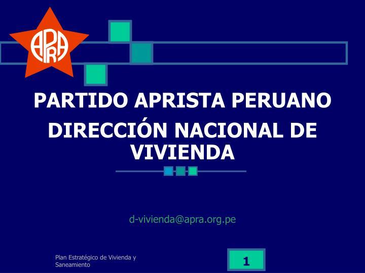 partido aprista peruano direcci n nacional de vivienda