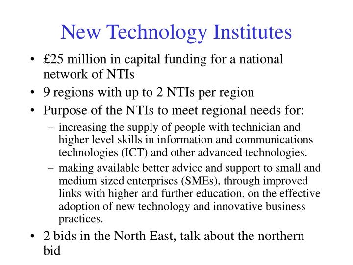 New Technology Institutes