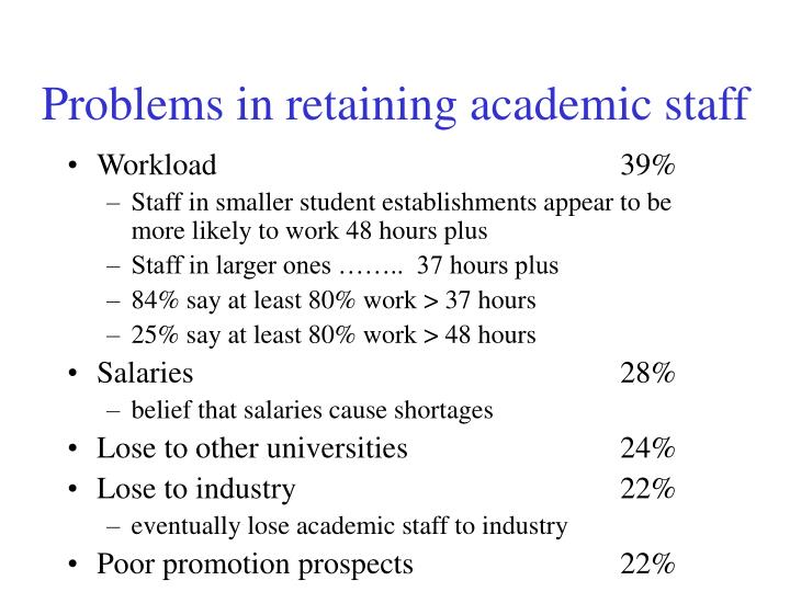 Problems in retaining academic staff