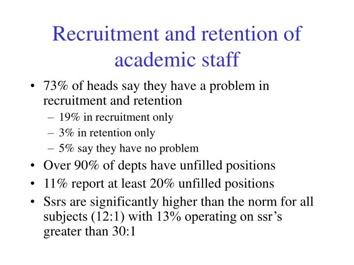 Recruitment and retention of academic staff
