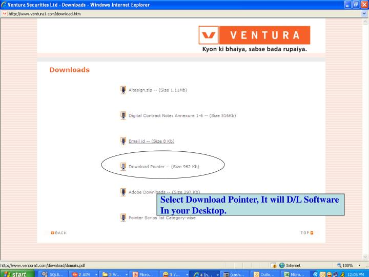 Select Download Pointer, It will D/L Software