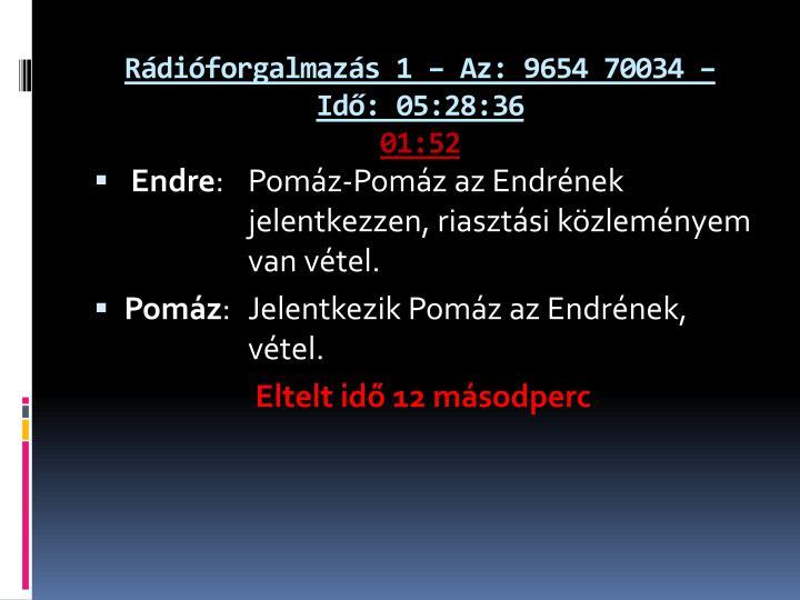 Rádióforgalmazás 1 – Az: 9654 70034 – Idő: 05:28:36