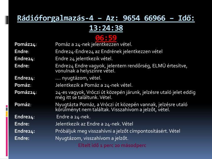 Rádióforgalmazás-4 – Az: 9654 66966 – Idő: 13:24:38