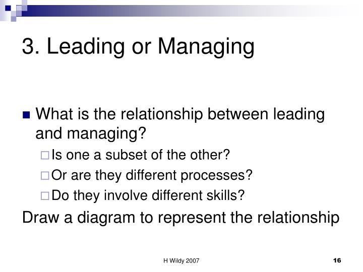 3. Leading or Managing