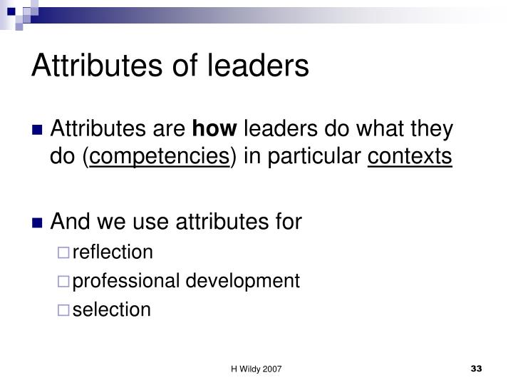 Attributes of leaders