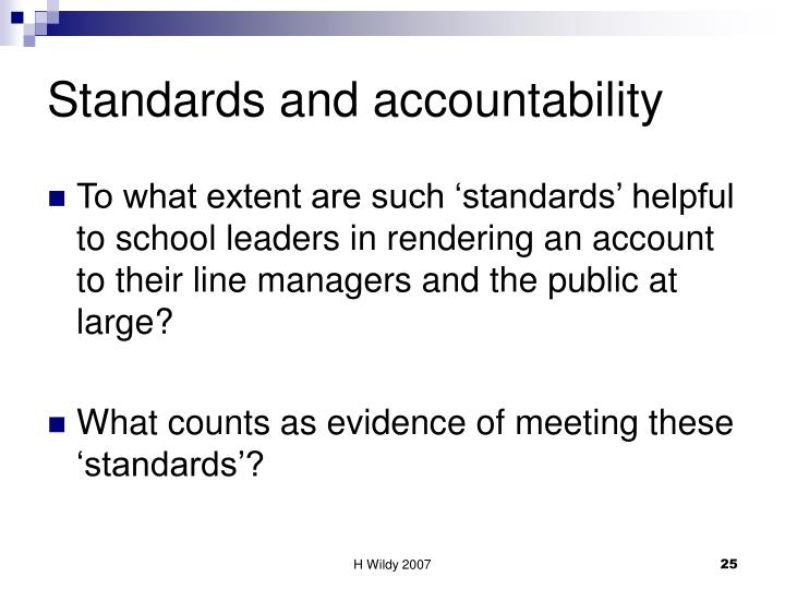 Standards and accountability