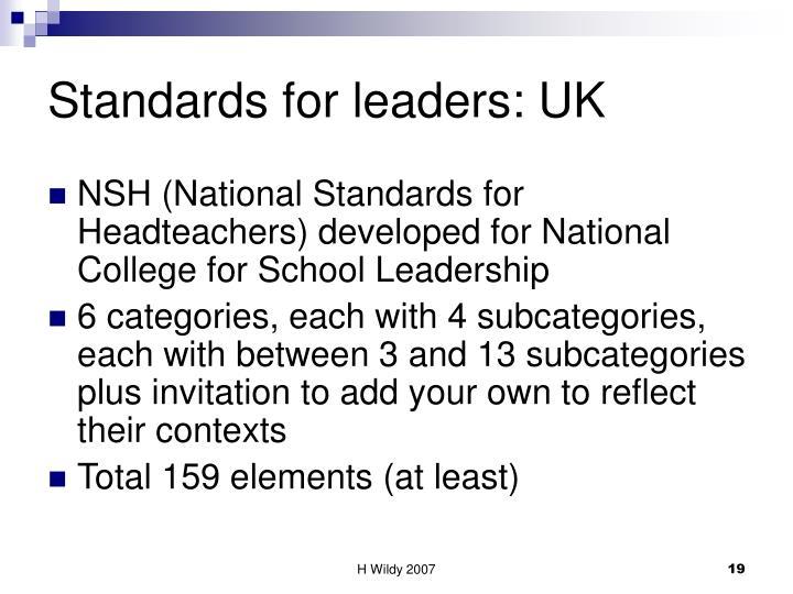 Standards for leaders: UK