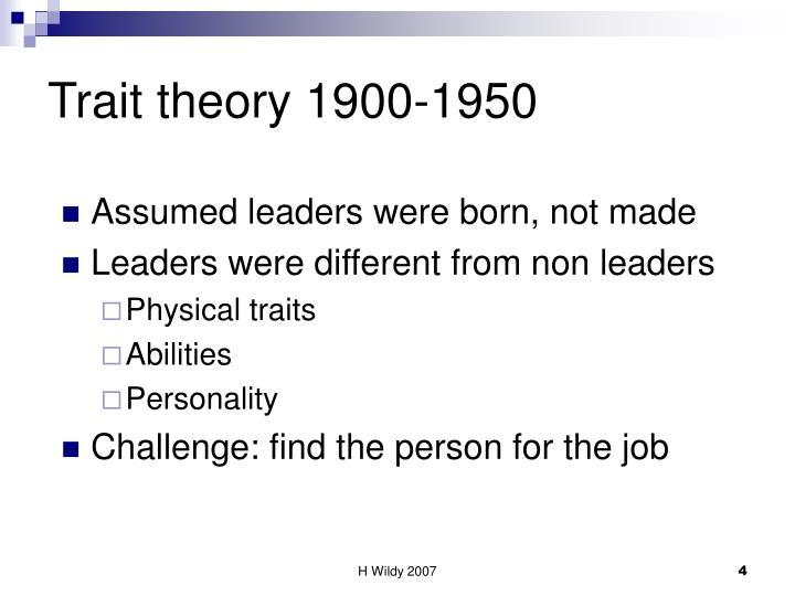 Trait theory 1900-1950