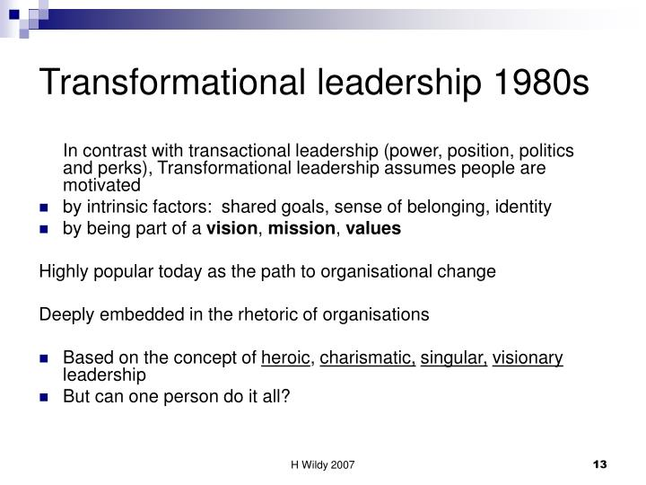 Transformational leadership 1980s