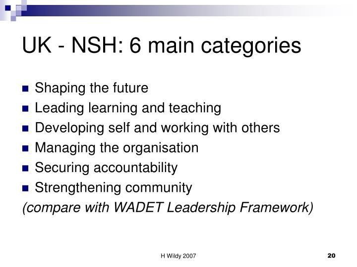 UK - NSH: 6 main categories
