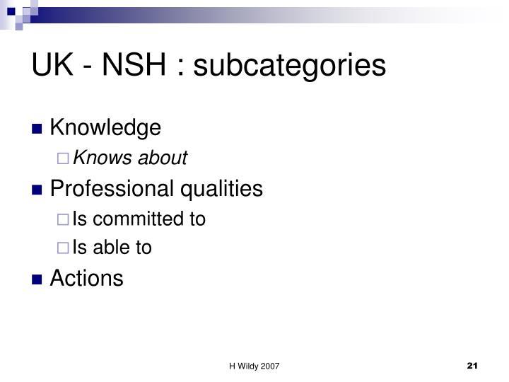 UK - NSH : subcategories