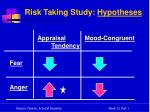 risk taking study hypotheses