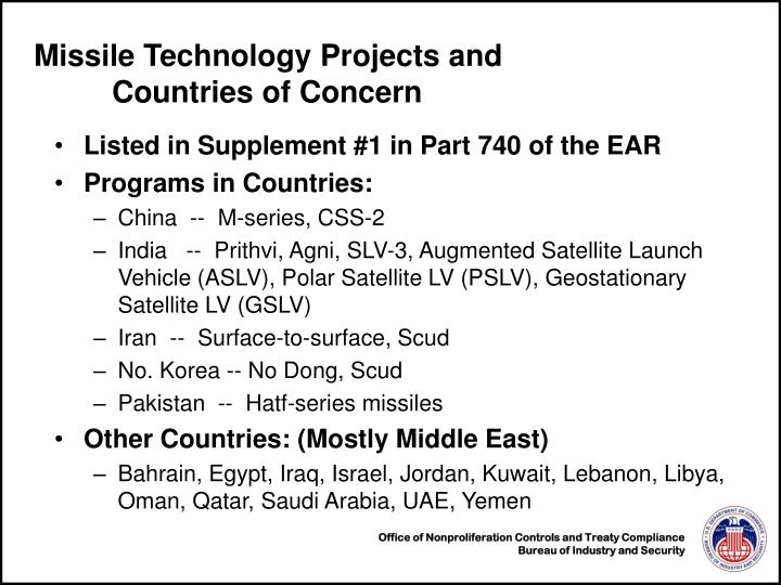 Missile Technology Projects and