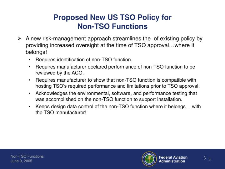 Proposed new us tso policy for non tso functions
