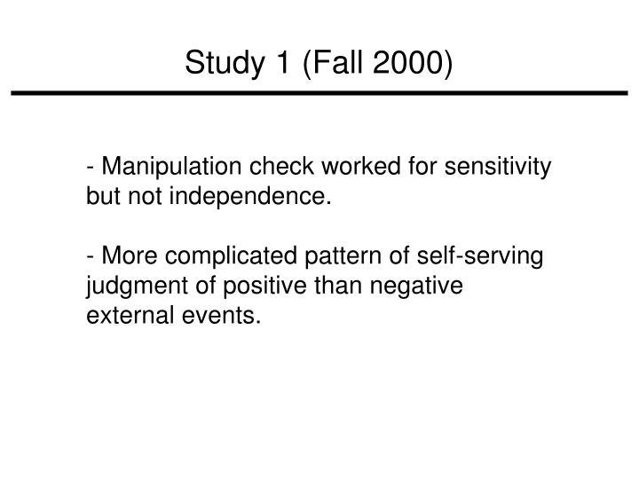 Study 1 (Fall 2000)