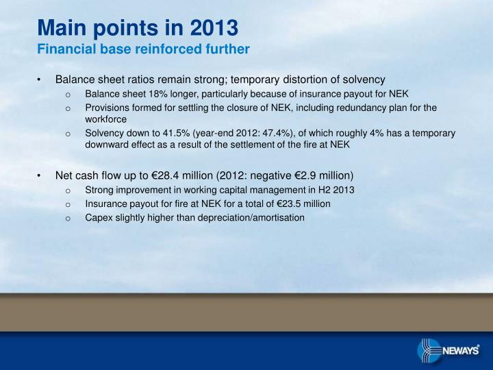 Main points in 2013