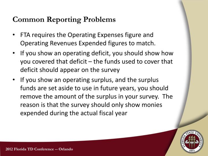 Common Reporting Problems