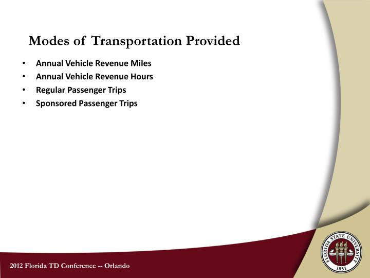 Modes of Transportation Provided