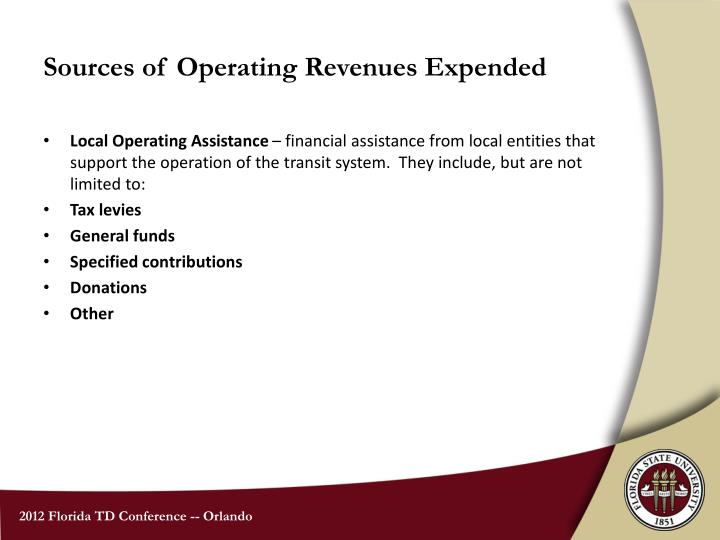 Sources of Operating Revenues Expended
