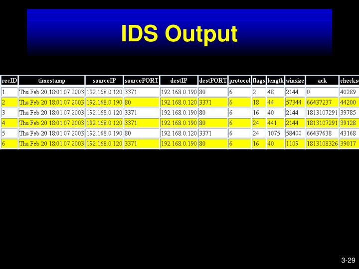 IDS Output