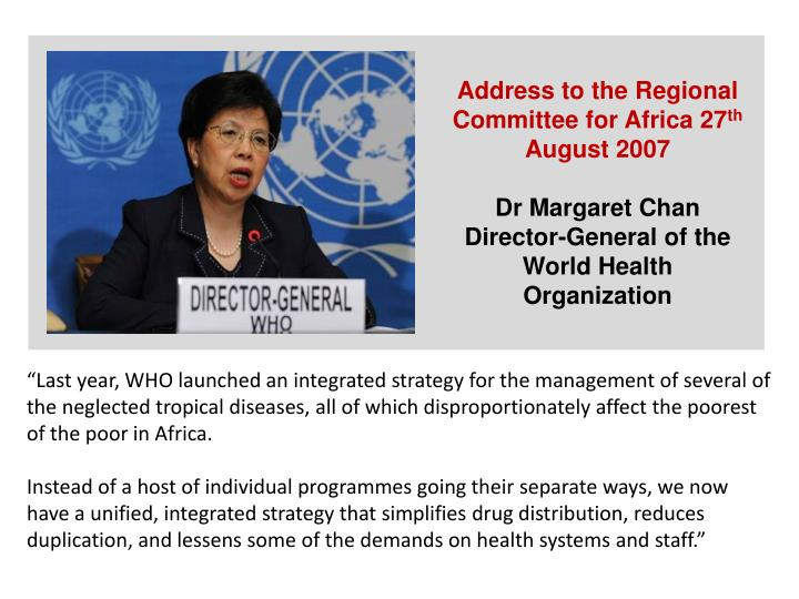 Address to the Regional Committee for Africa 27