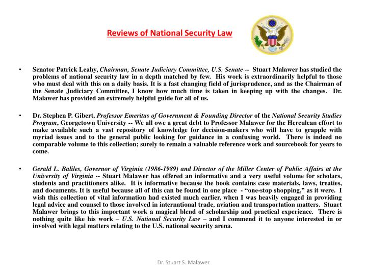 Reviews of National Security Law
