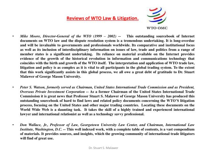 Reviews of WTO Law & Litigation.