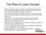 the role of local counsel