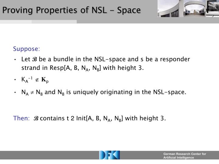 Proving Properties of NSL - Space