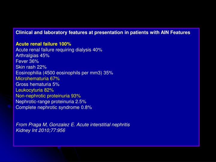 Clinical and laboratory features at presentation in patients with AIN Features