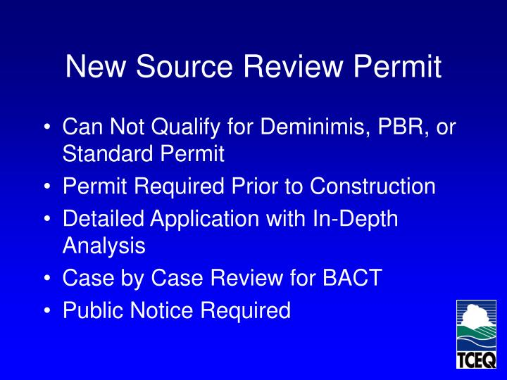 New Source Review Permit