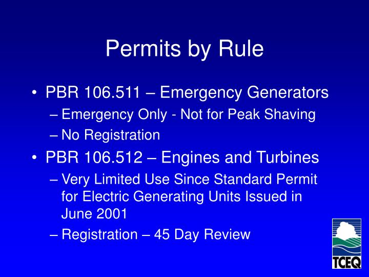 Permits by Rule