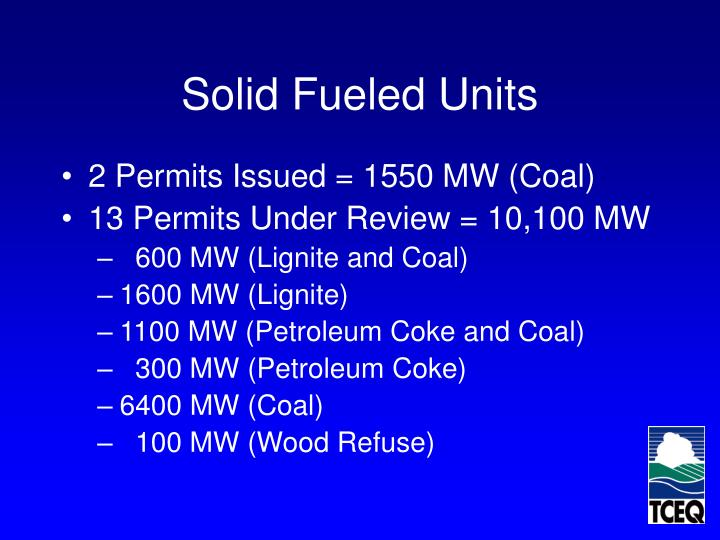 Solid Fueled Units