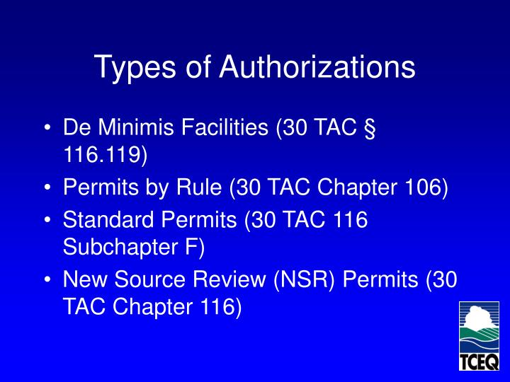 Types of Authorizations
