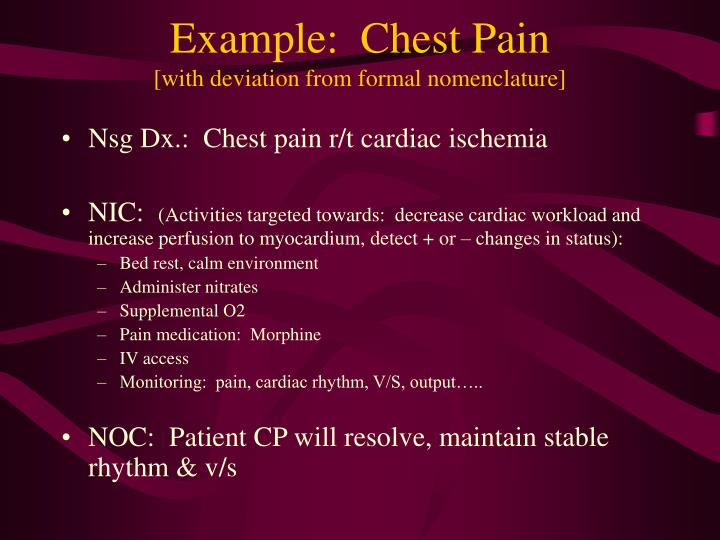 Example:  Chest Pain