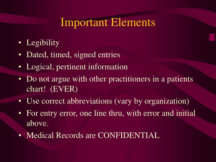 Important Elements