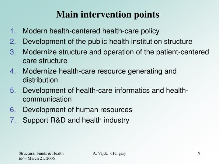 Main intervention points