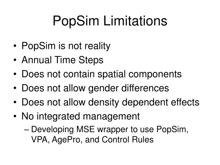 PopSim Limitations