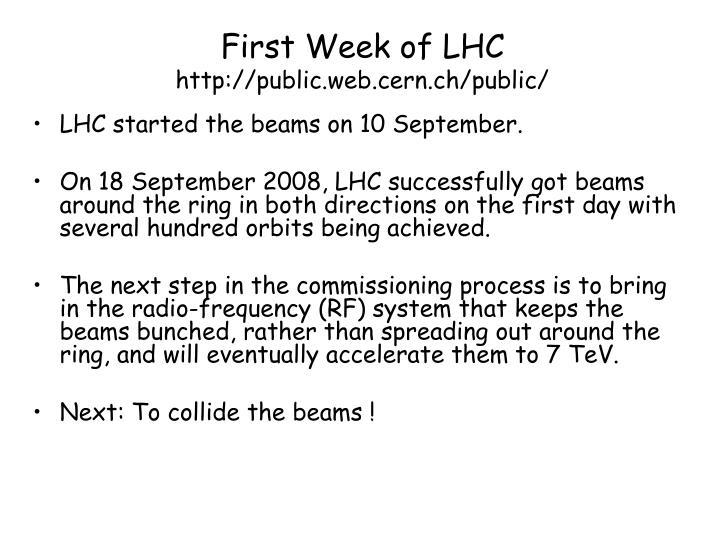First Week of LHC