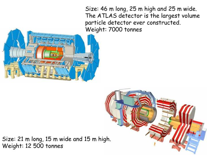 Size: 46 m long, 25 m high and 25 m wide. The ATLAS detector is the largest volume particle detector ever constructed.