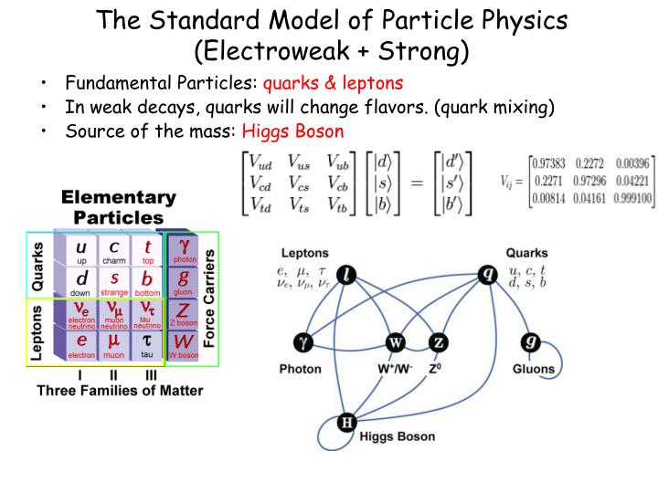 The Standard Model of Particle Physics (Electroweak + Strong)