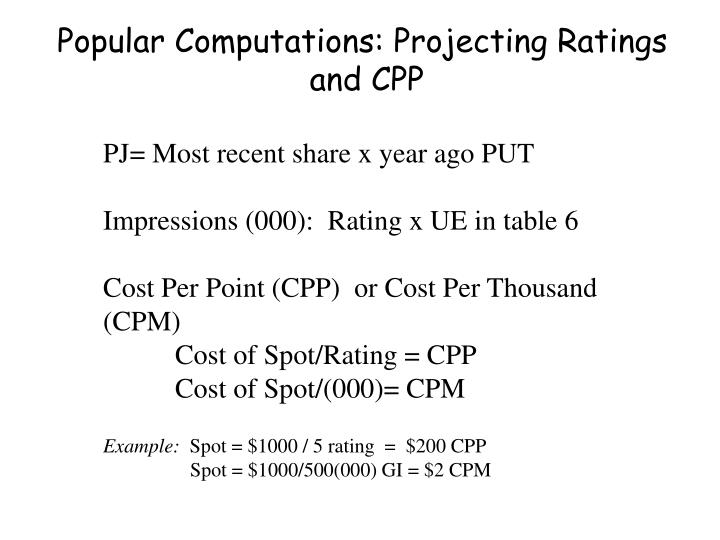Popular Computations: Projecting Ratings