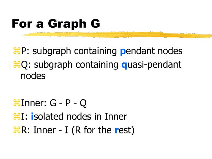 For a Graph G